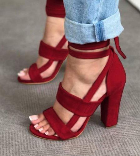 Fashion Womens Ladies High Block Heel