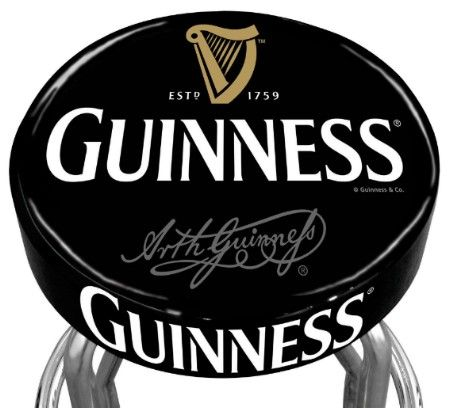 Guinness Harp Logo Bar Stool With