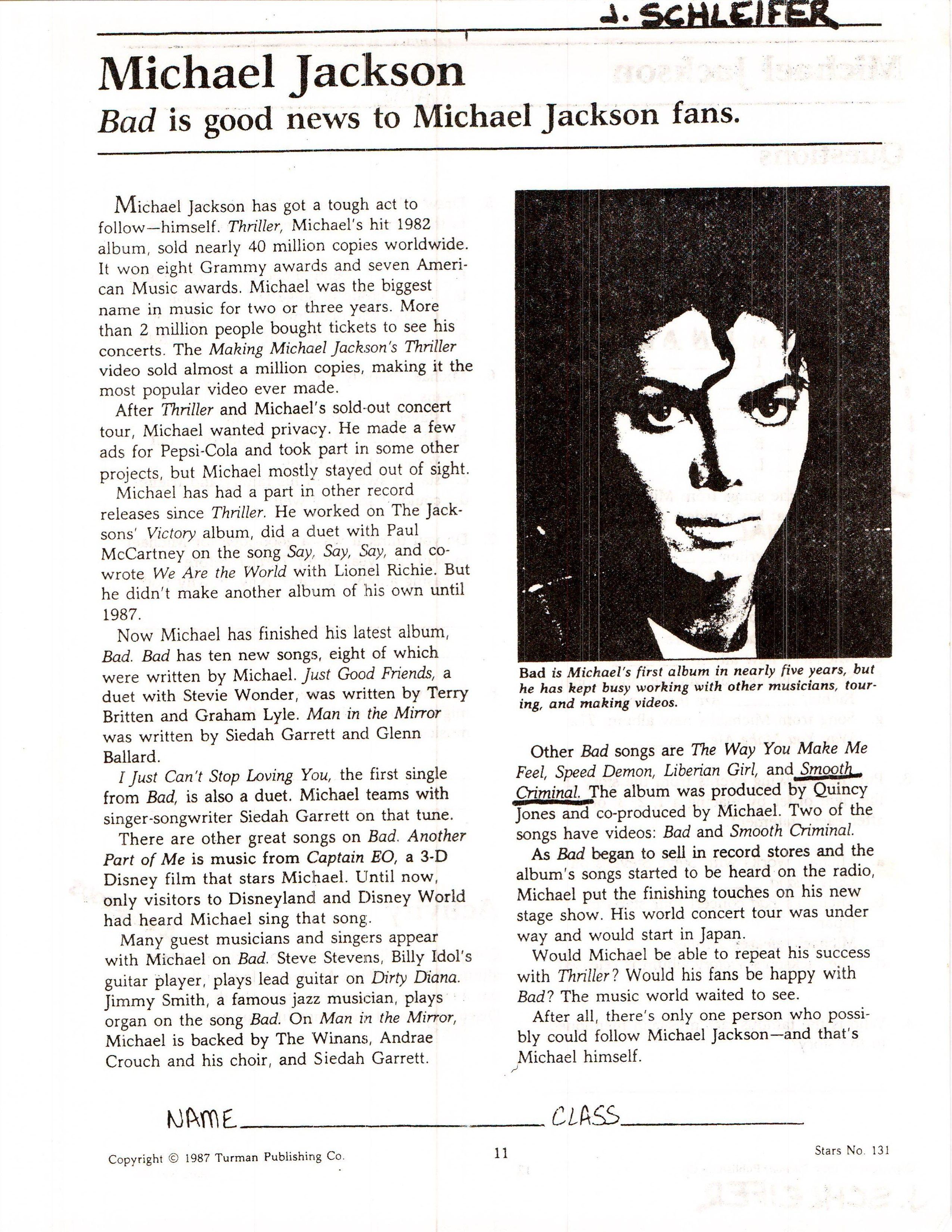 Michael Jackson 1 Ready Made Worksheets