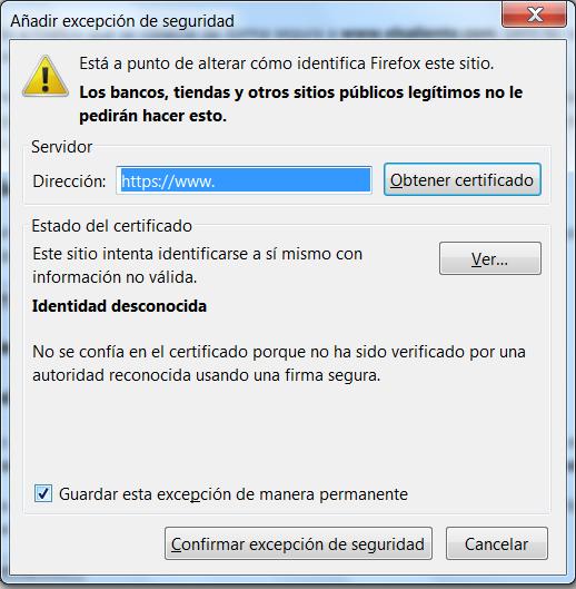 Excepción Certificado Seguridad Mozilla Firefox 2