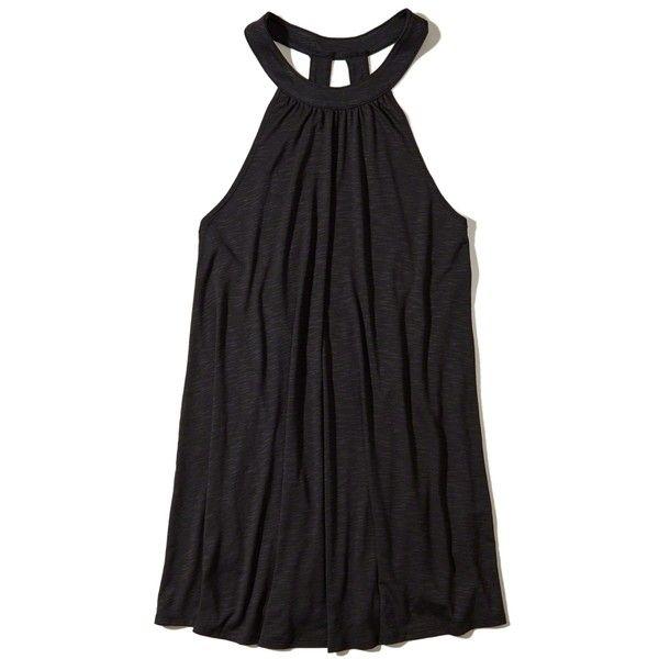 c723817ac3 Hollister Open Back Dress Swim Cover-Up ($30) ❤ liked on Polyvore featuring  swimwear, cover-ups, black, swim cover up, beach swimwear, strappy bikini  top, ...