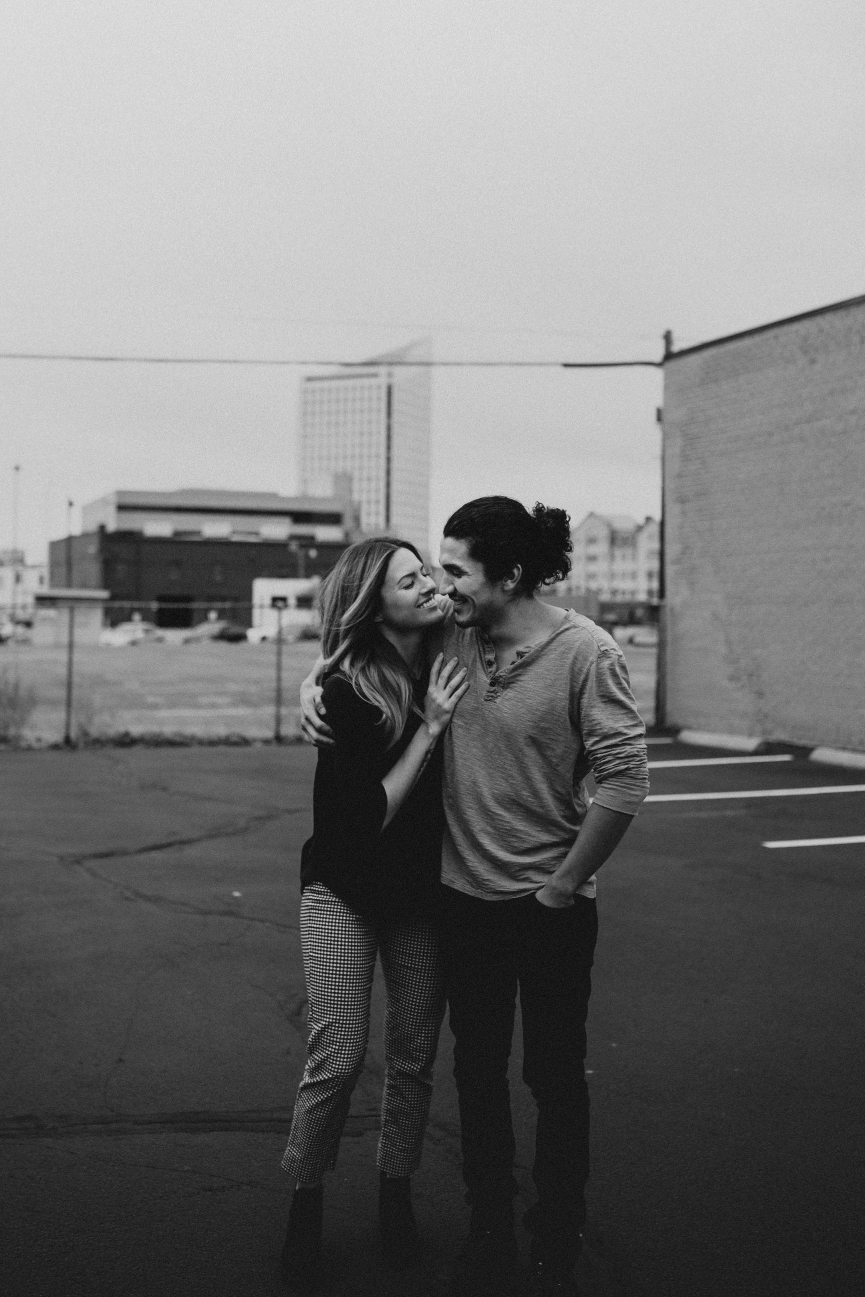 Cutest Urban Couple Session Creamy And Grainy Black White