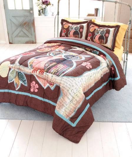 New Trendy Owl Friend Bedroom Comforter, Brown Owl Bedding