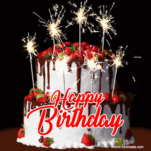 Tarta De Cumpleaños Con Palitos De Fresa Y Purpurina Gif Foto Feliz Cumpleaños Birthday Cake Gif Happy Birthday Fun Birthday Greetings Funny