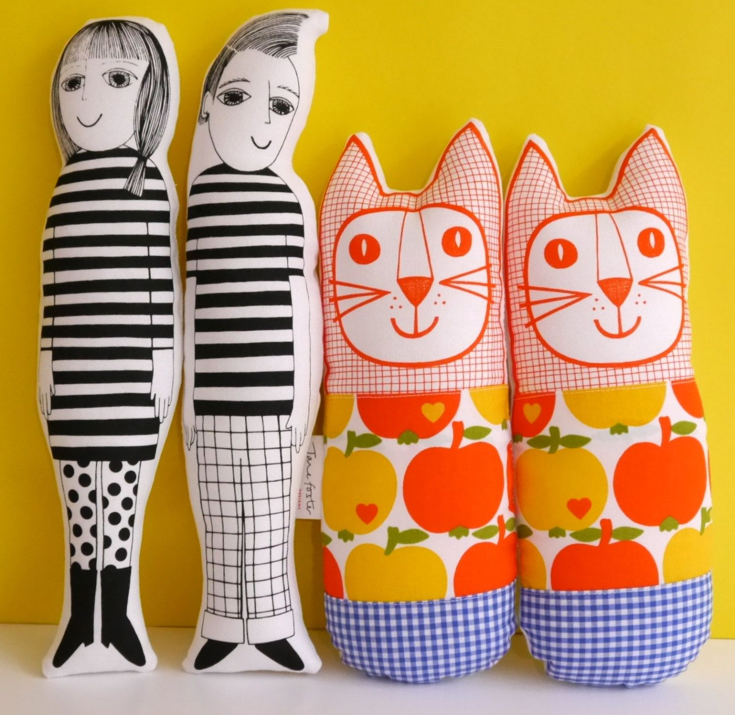 Make Your Own Screen Printed Fabric Retro Dolls By Jane Foster