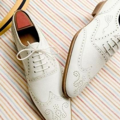 white oxford wing tip brogues toe leather lace up  brown