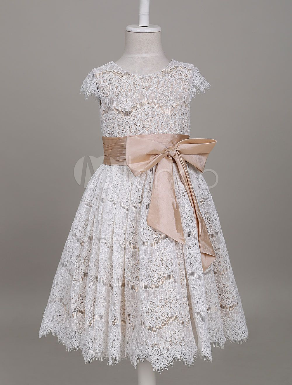 5ed996bb2db Flower Girl Dresses Lace Champagne Short Sleeve Bow Sash A Line Formal  Party Dress For Girls