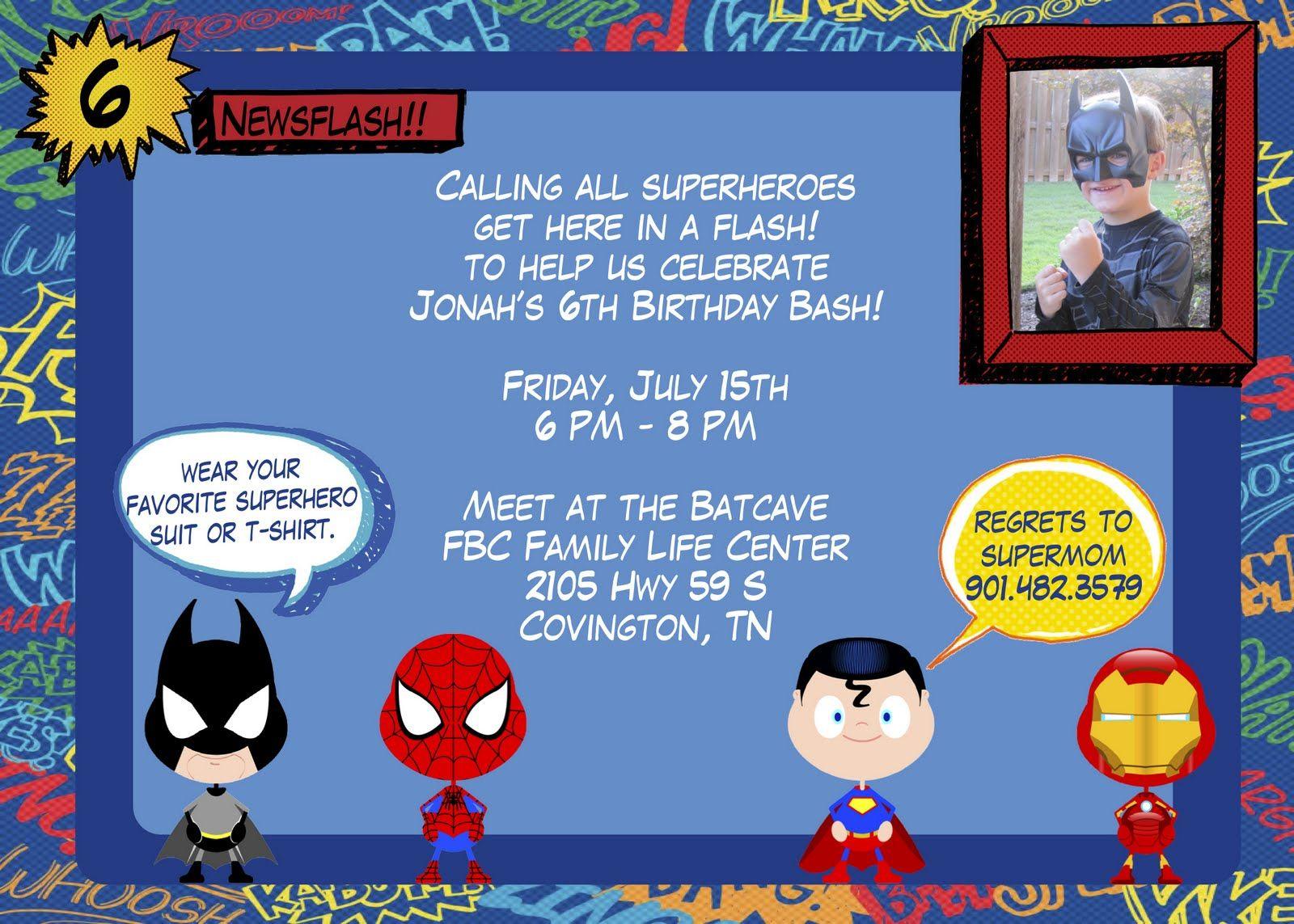 Superhero Birthday Party Invitations Templates Free – Superhero Party Invitation