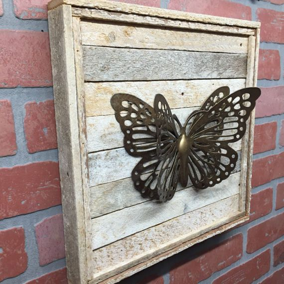 Rustic Metal Butterfly Wood Wall Decor Butterfly Wall Decor Decor Rustic Metal