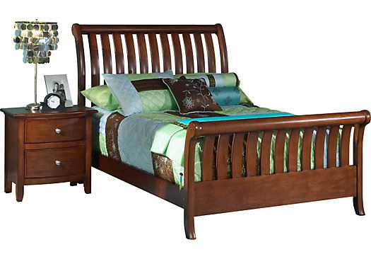 shop for a santa cruz dark pine 3 pc full sleigh bed at rooms to go - Twin Sleigh Bed