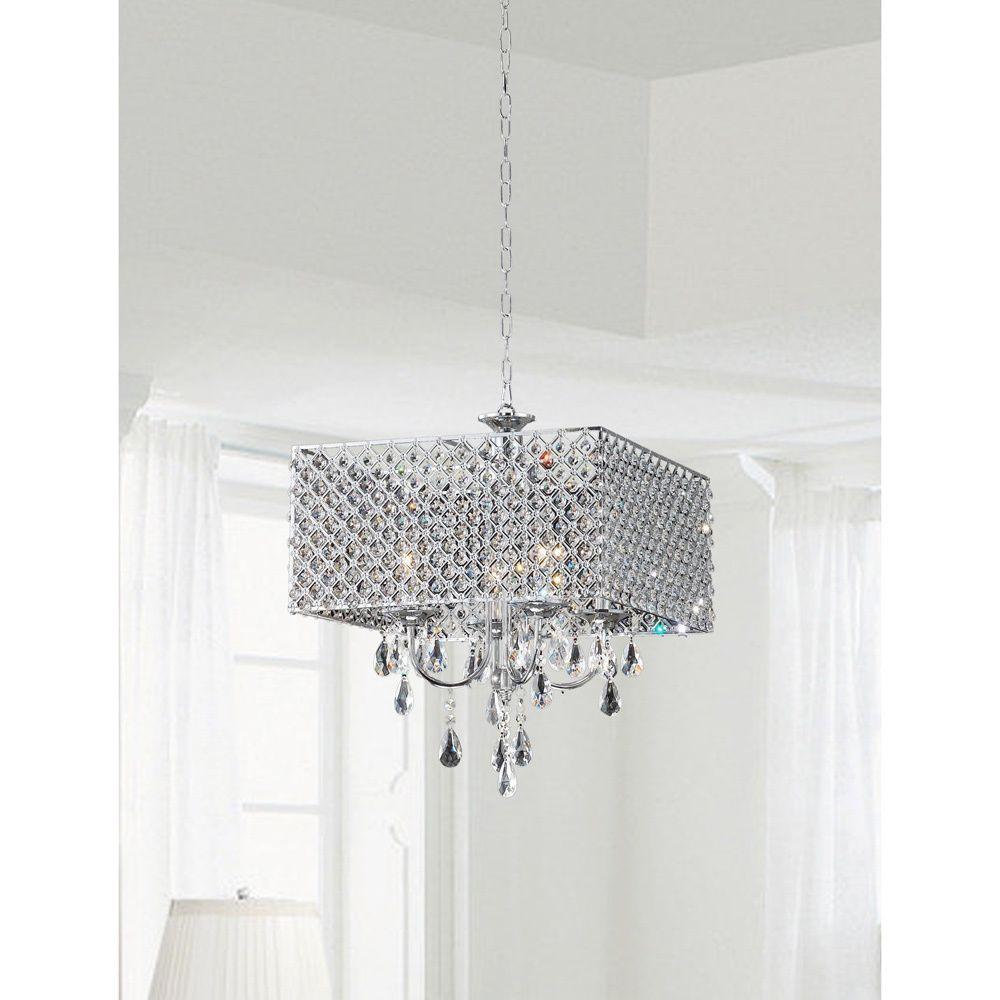Explore Iluminação Da Casa E Muito Mais Silver Orchid Taylor Chrome Crystal 4 Light Square Chandelier White