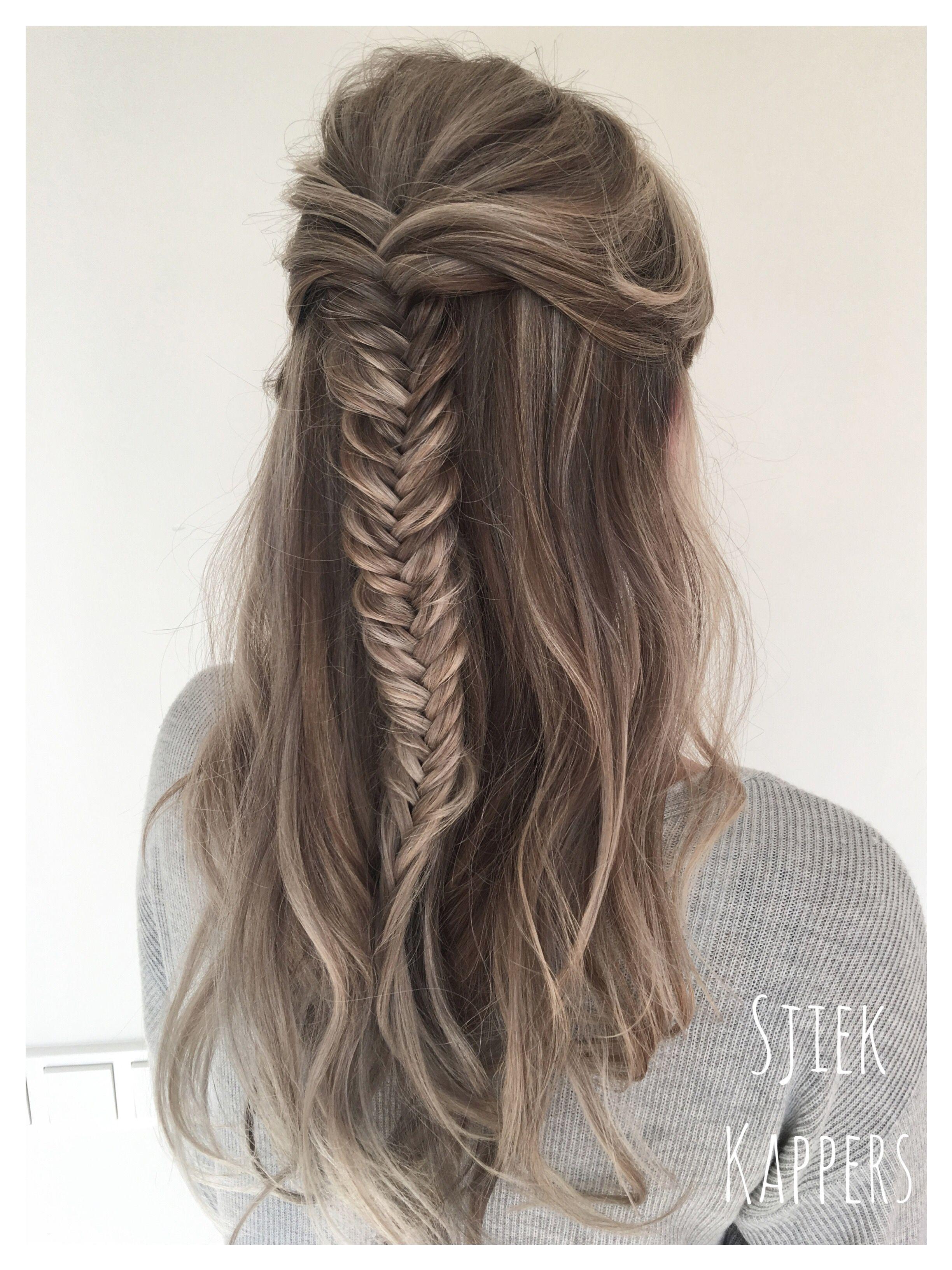 Half up half down fishtail braid hair updo ashy blonde