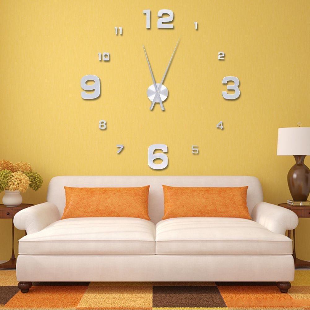 Silver Fashion 3D Big Size Wall Clock Mirror Surface Stickers DIY ...