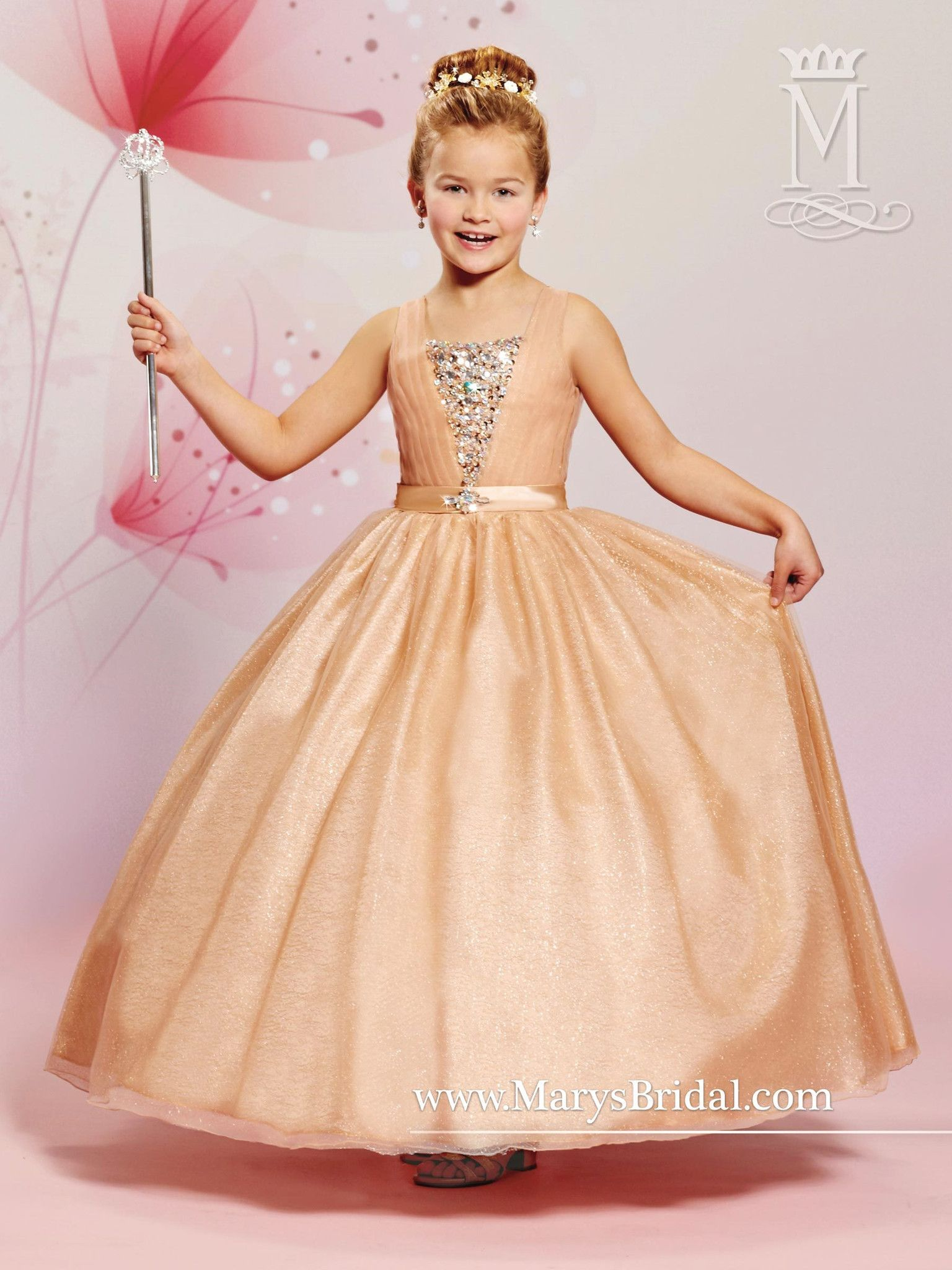 Girls sleeveless sparkling tulle dress by maryus bridal cupids f