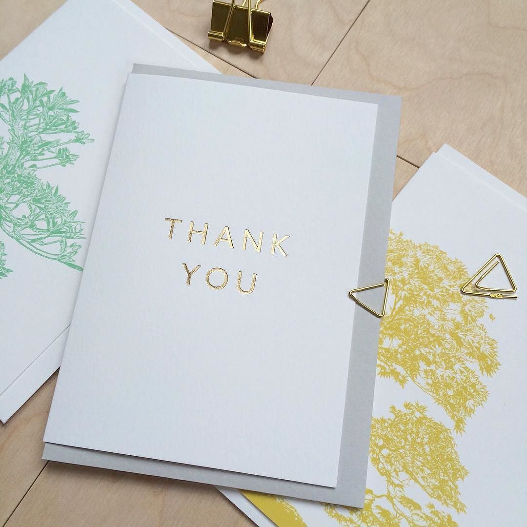 BONSAI & GOLD |  Gold foil 'Thank You' from our 'milk & gold' range 'STRAIGHT UP' with yellow-gold and mint bonsai from our 'BONSAI' range.  #lonetreehq #stationery #stationeryaddict #papergoods #bonsai #goldfoil #gorseyellow #mintgreen #madeinengland