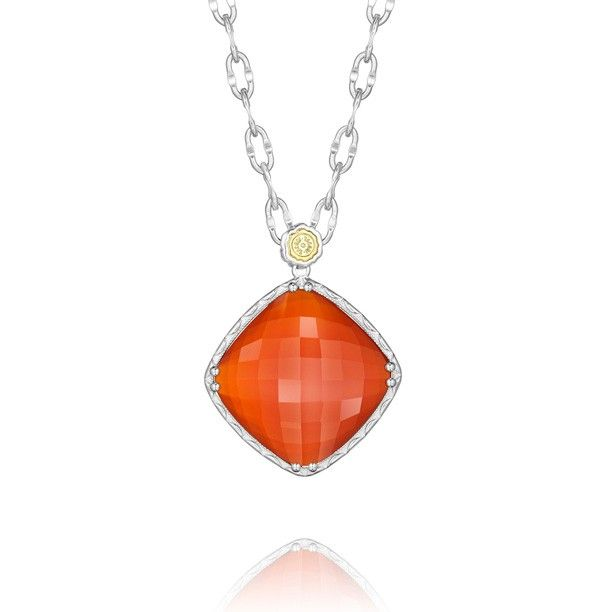 """Paint the town red with this seductive Red Onyx layered over Clear Quartz stone pendant. It hangs from an 18"""" silver linked chain detailed with an 18k gold Tacori gemseal. (Chain included)"""