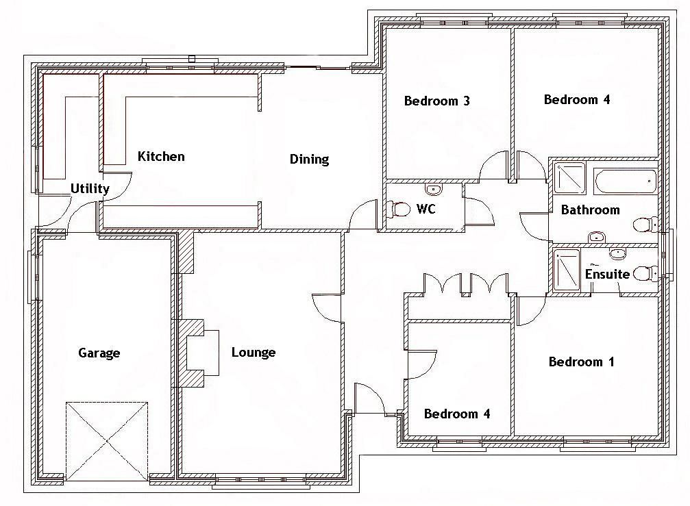 split bedroom house plans for 1500 sq ft 4 bedroom house ebay bungalow floor - Bungalow Floor Plans
