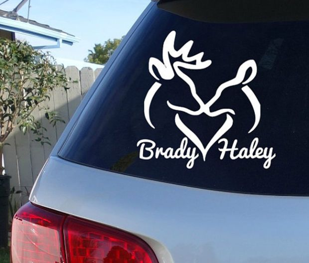 Deer Couple Car Decal Couple Names Decal Sticker Truck - Couple custom vinyl decals for car