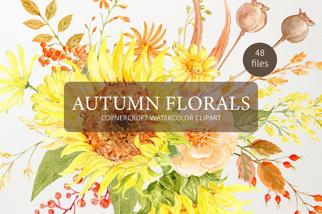 Watercolor clipart autumn florals fall flowers sunflower rose