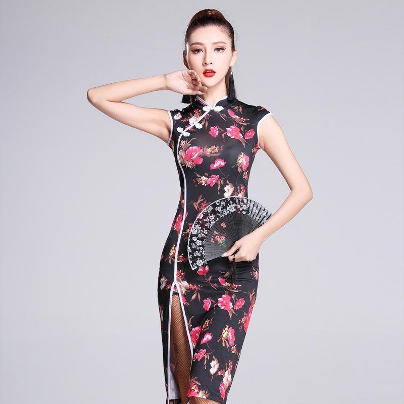 ad60776f78cb8 Fashion Flower Print Ice Silk Slim Cheongsam Sexy Latin Dance one ...