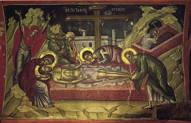 Epitaphios, from the Stavronikita Monastery, Mt Athos (16th Century). Burial of Christ Icon