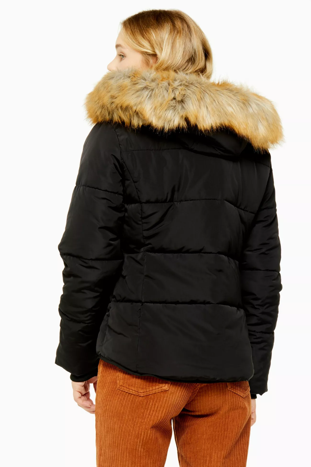 Black Detachable Faux Fur Hooded Padded Puffer Jacket in ...