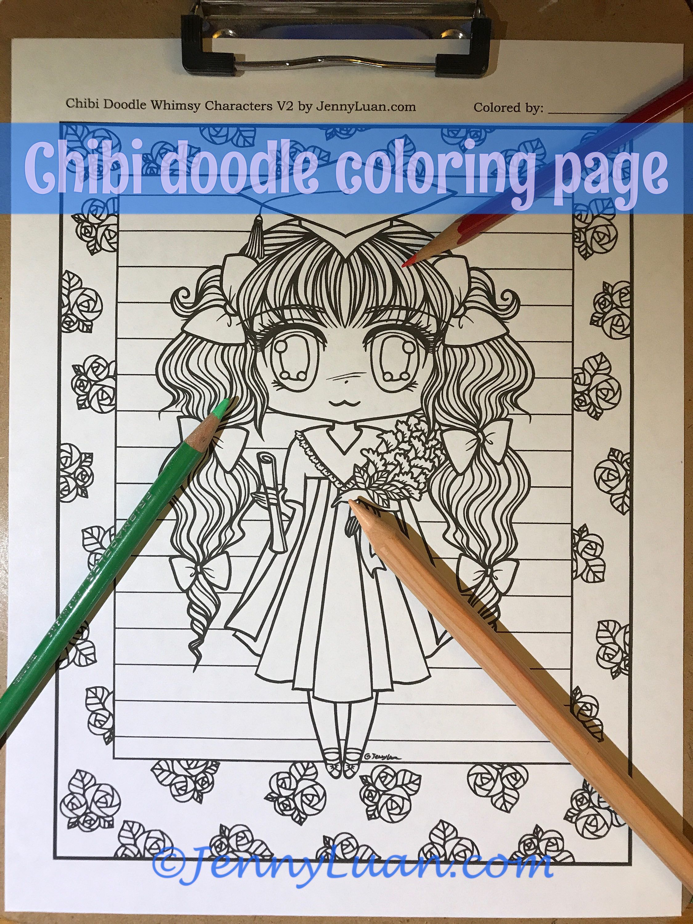 Chibi Girl Graduation Doodle Anime Manga Coloring Page For Adult PDF Download By JennyLuanArt