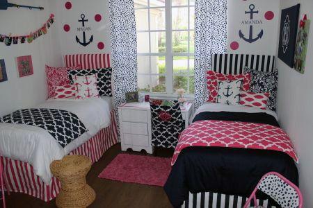 Coordinating Pink And Navy Nautical Dorm Room Decor Bedding