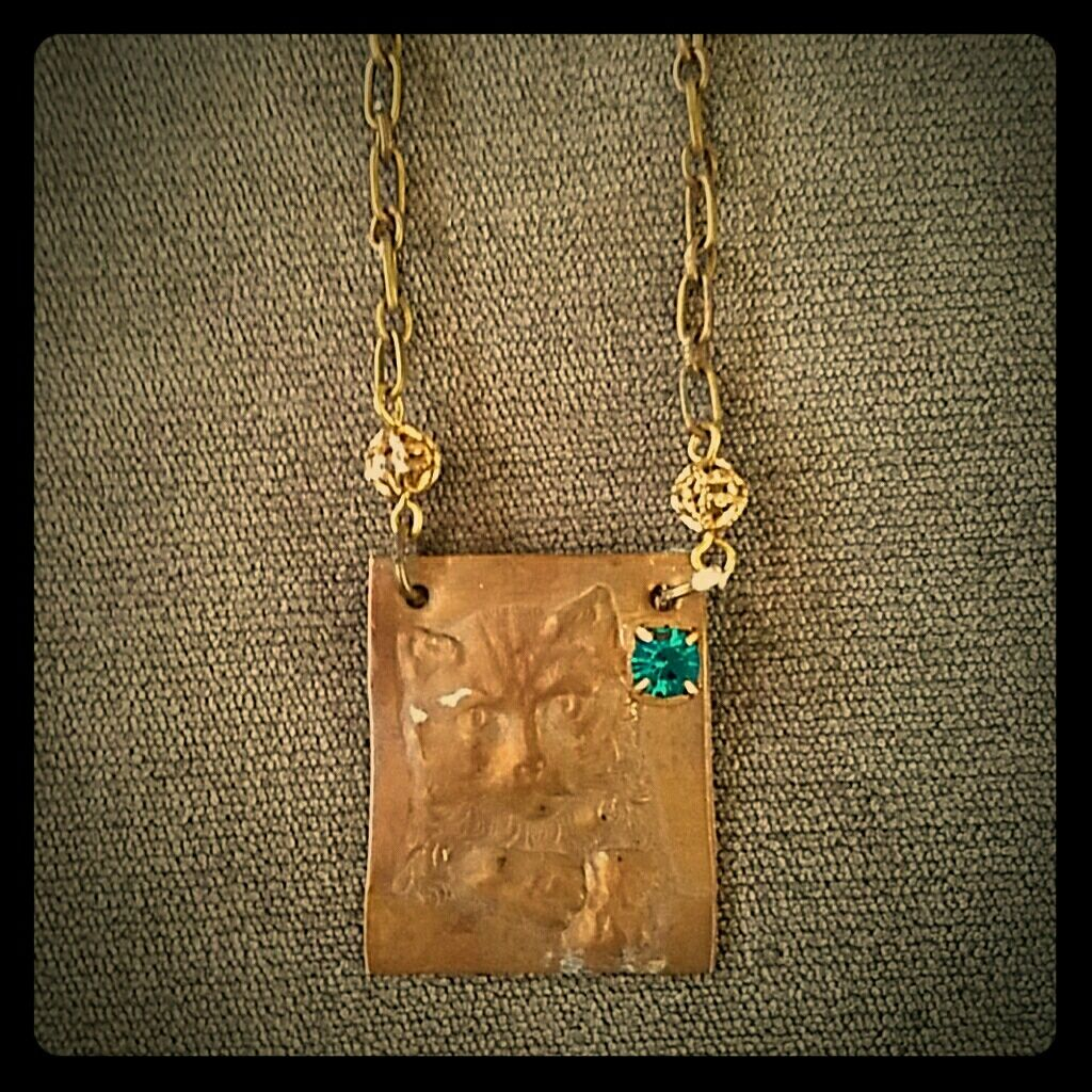 Copper Cat Vintage Necklace