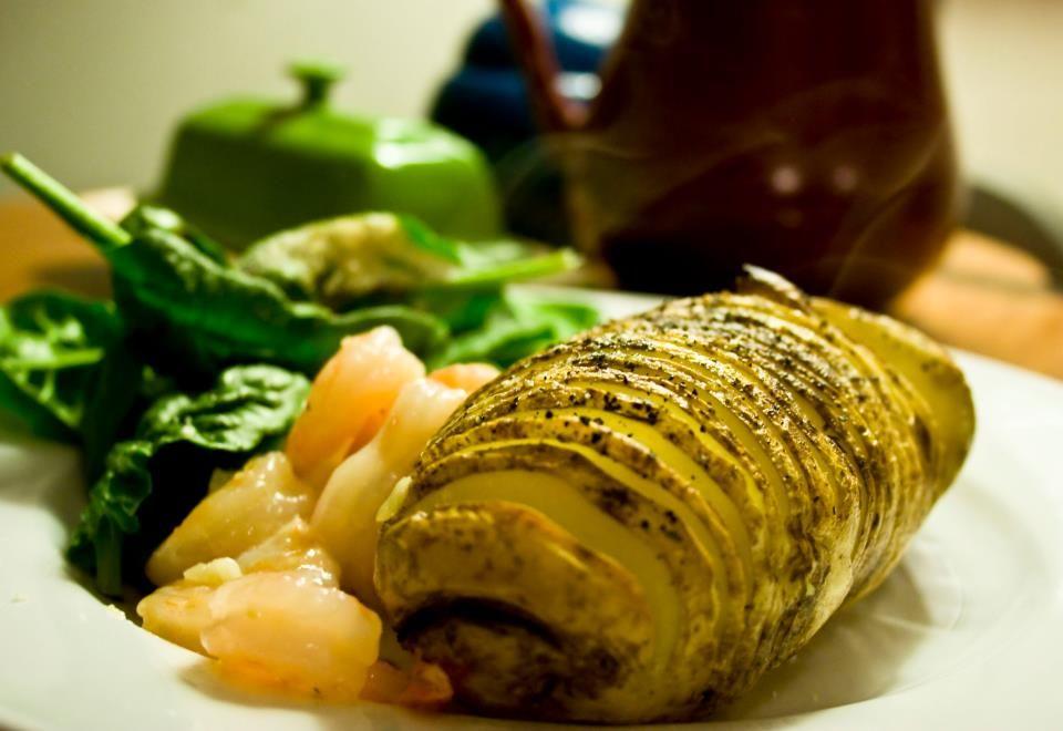 Fancy Dinner Tuesday  Baked potato, garlic shrimp, spinach salad.