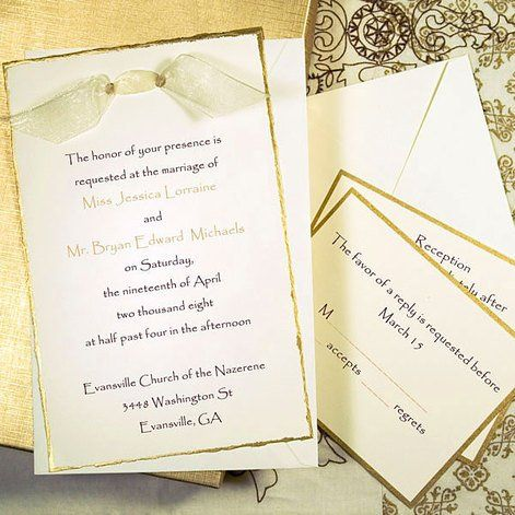 Gold deckled printable invitations kit cathys concepts httpwww anniversary invitations stopboris