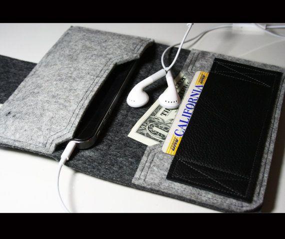 钱包纯净的美利奴羊毛毡和皮革灰色AlexMLynch