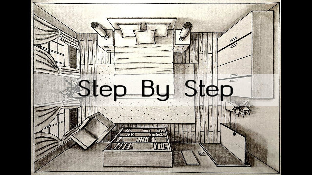 How To Draw A Bedroom In One Point Perspective Bird S Eye Step By Step Drawing A Bedr In 2020 One Point Perspective Point Perspective Perspective Drawing Architecture