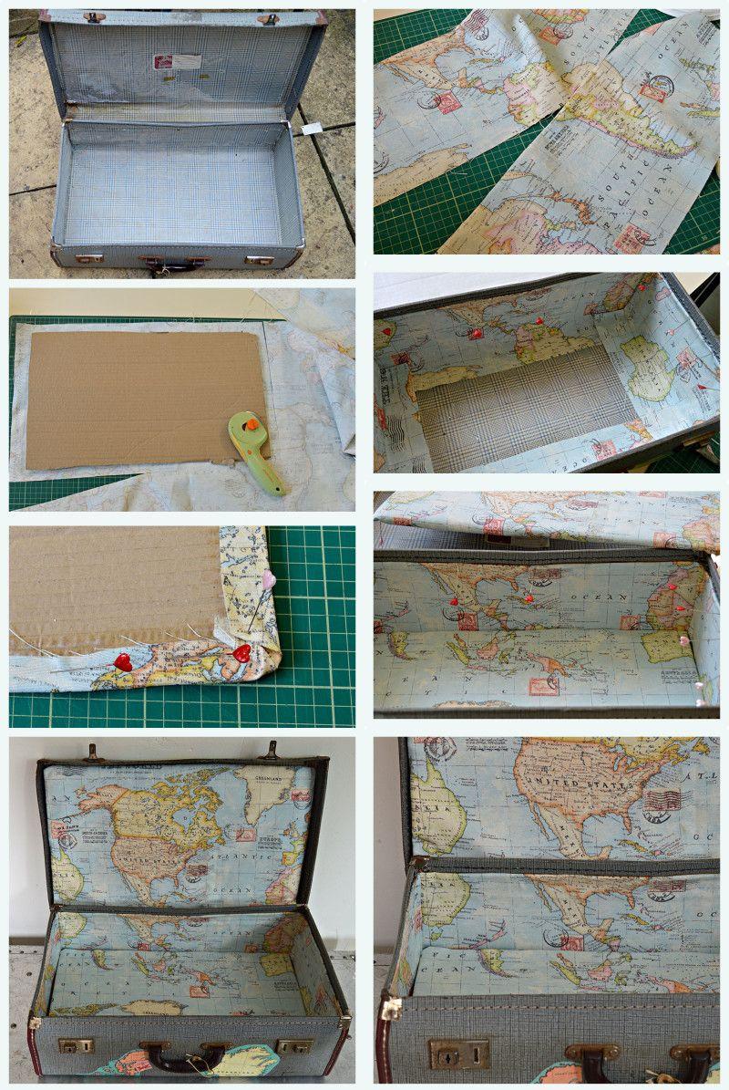 Brilliant Vintage Map Suitcase Tutorial