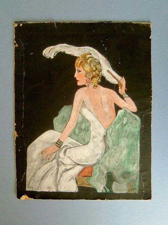 Vintage 1930s Art Deco Portrait Painting Of A By
