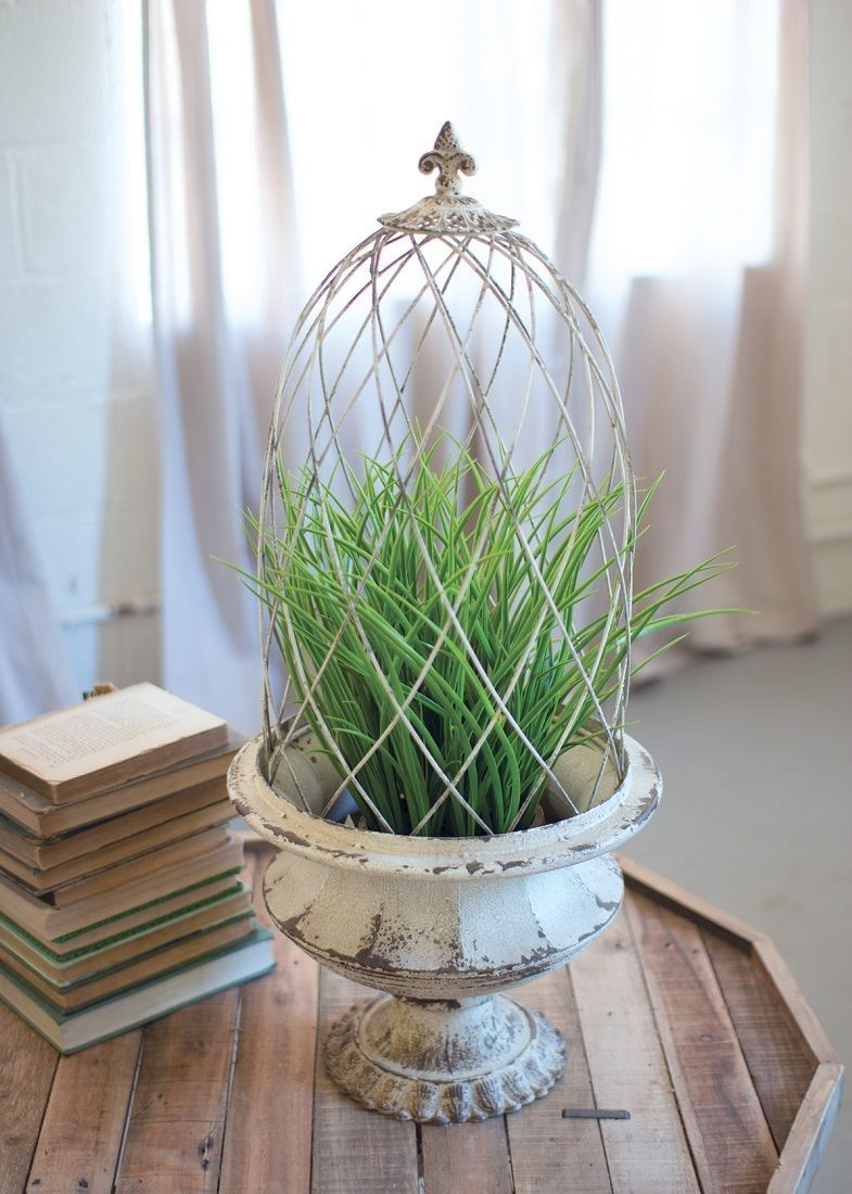 Fleur De Lis Topiary Planter Metal Urn Wire Cloche Cage ...