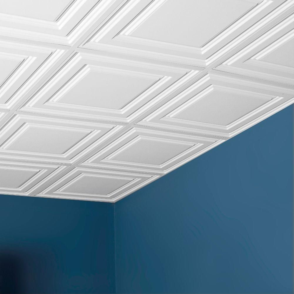 Drop ceiling tiles for bathroom - Drop Ceiling Genesis 2 Ft X 2 Ft Icon Relief White Ceiling Tile