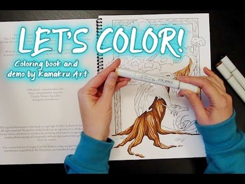 Kamakru adult coloring book and mini copic marker demo