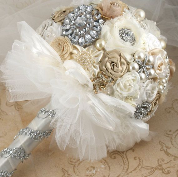 Brooch Bridal Bouquet Vintage Style Jeweled In Champagne Ivory And White