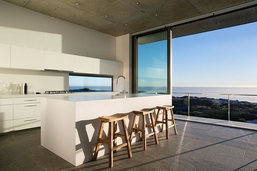 Minimal Kitchen Of Cape Town Home With A Stunning View Of The Distant  Indian Ocean
