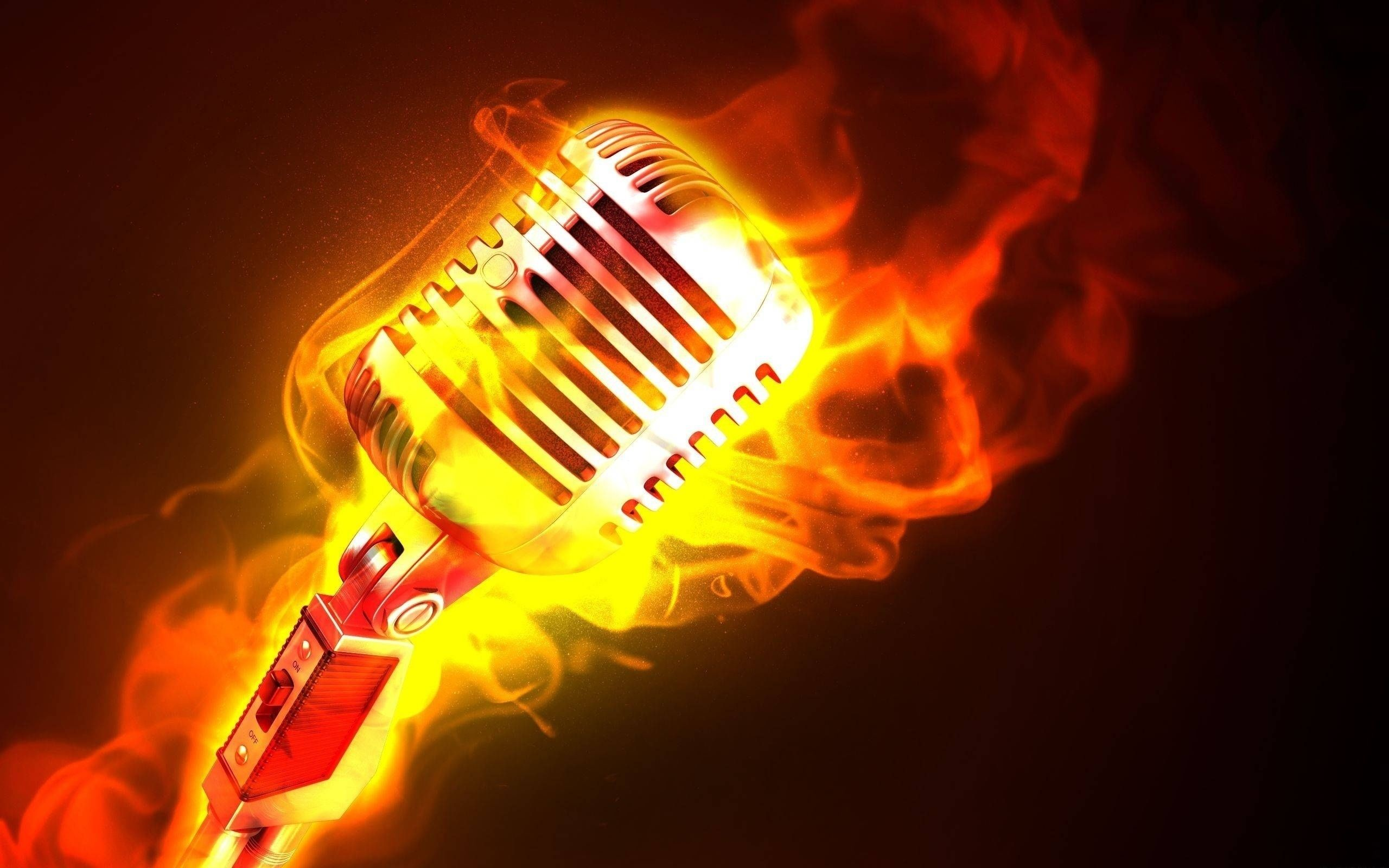 Download Wallpaper 2560x1600 Microphone Fire Flame Metal 2560x1600 Hd Background Music Wallpaper Microphone Music Backgrounds