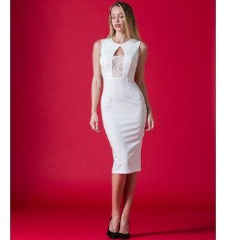 2e4d5d8d6ef Pencil Κρεπ Φόρεμα με Δαντέλα - Λευκό | Φορέματα Nostress | Φορέματα ...