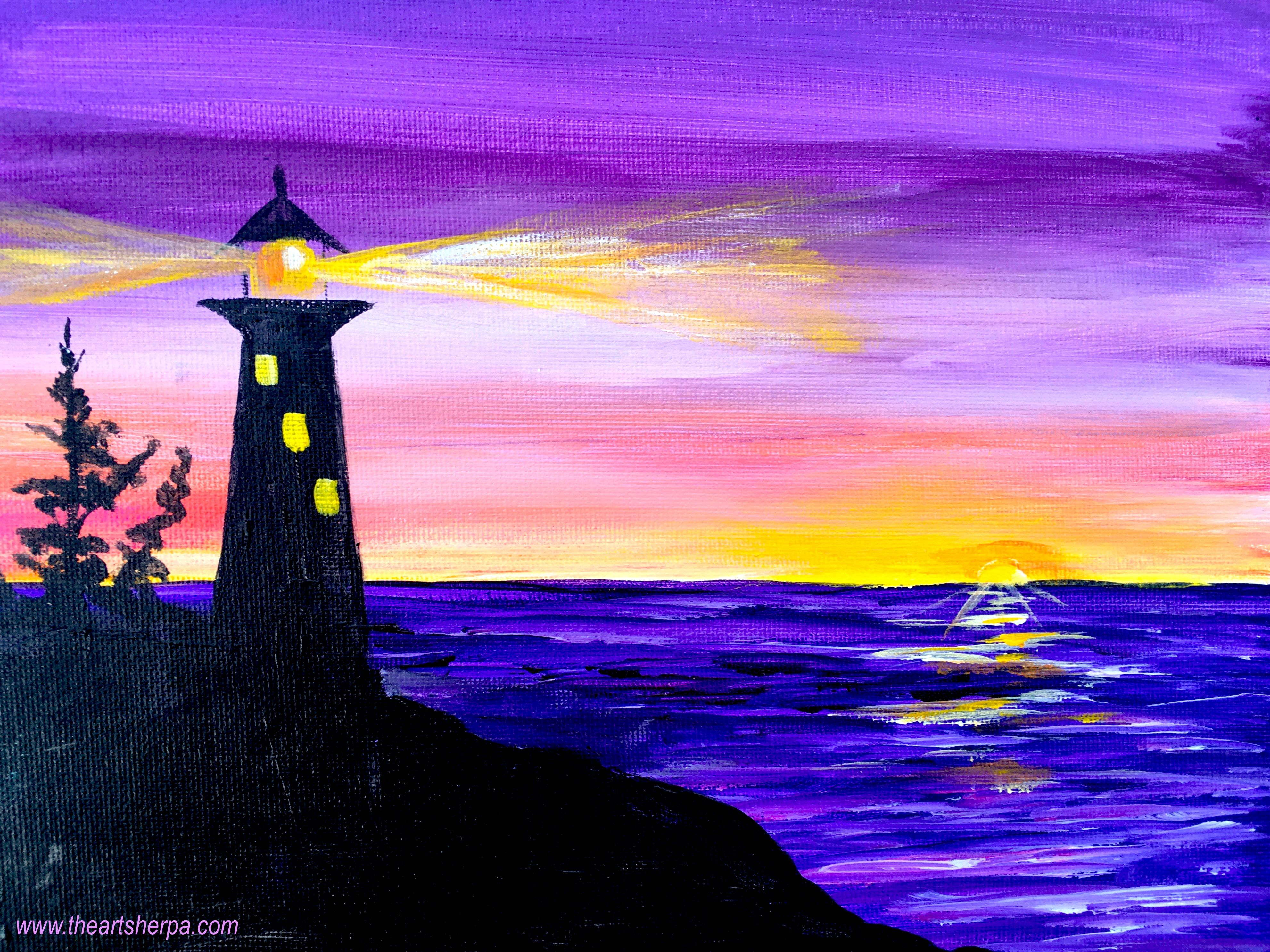 Easy Sunrise Painting Of A Silhouette Lighthouse With Light On This Is Fully Guided Real Time Step By Acrylic Art Lesson For Beginners