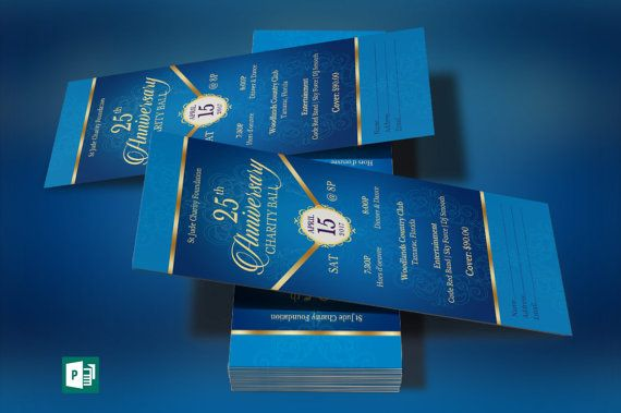 blue gold anniversary banquet ticket word publisher template