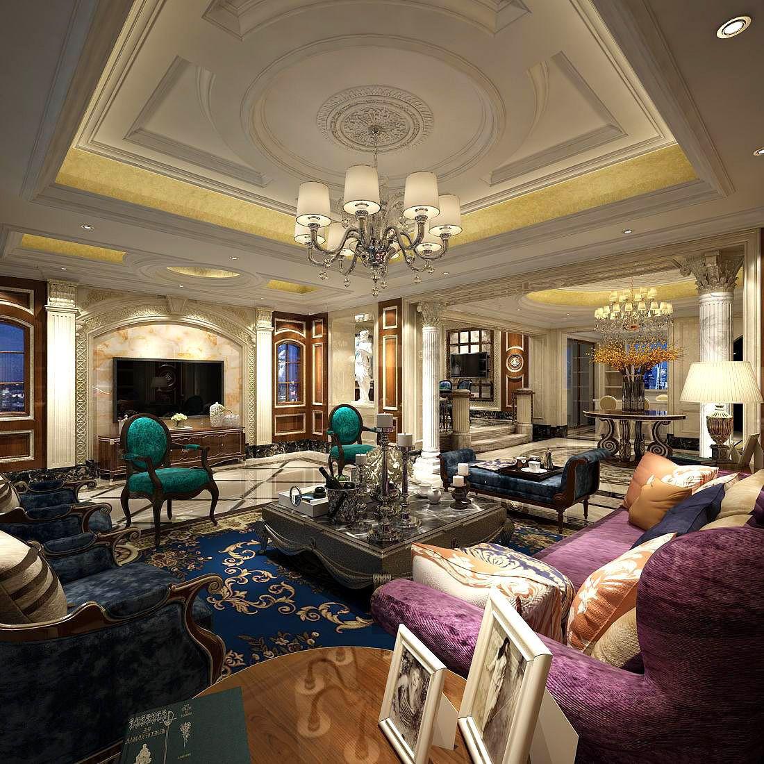 Deckengestaltung für die wohnhalle europeanstyle living room design  d model in   elegantly