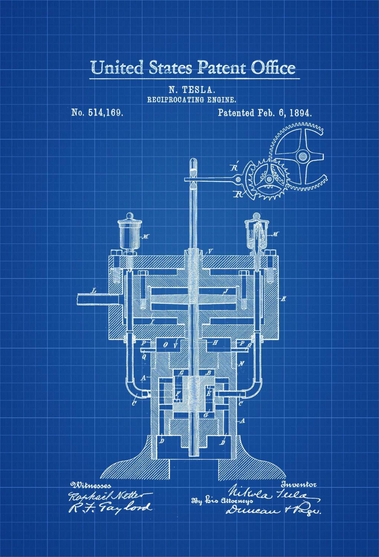 Tesla Reciprocating Engine Patent 1894 Print Wall Decor Diagram Geek Gift Technology