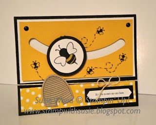 Stampin' Up!- I LOVE my spinning bee card made with the new Sliding Star Framelit & the coordinating set- 'Shooting Star'!