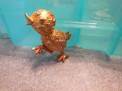 Vintage-Signed-MAMSELLE-Duck-Chick-Pin-Brooch