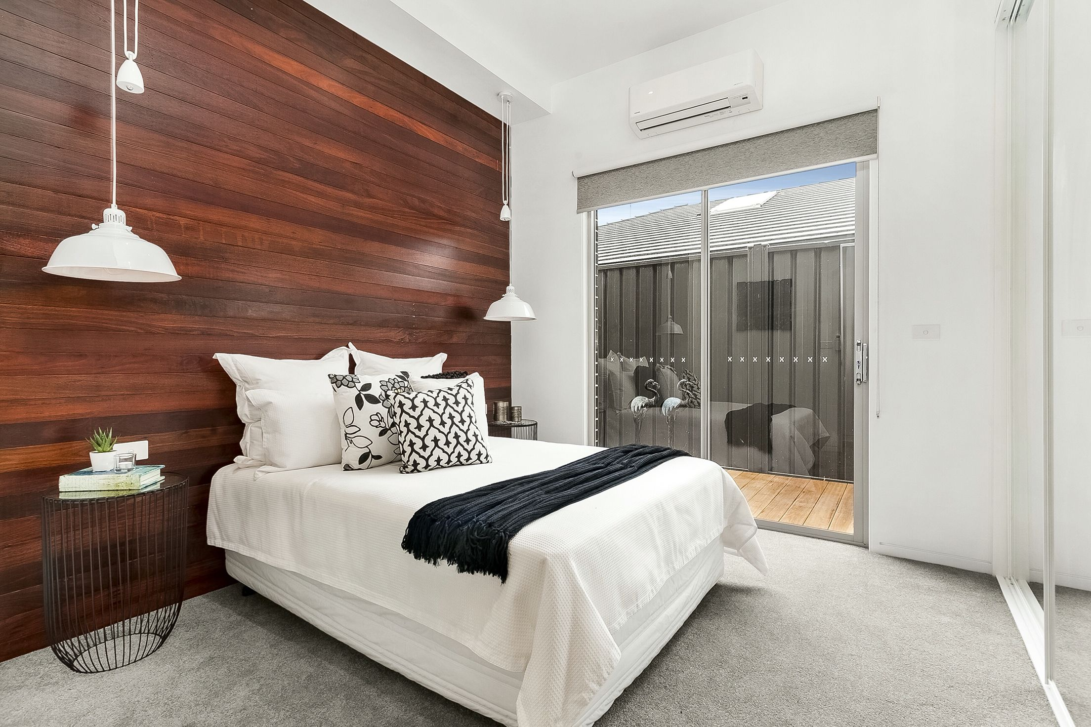 Modern timber jarrah recycled floorboards feature wall ...