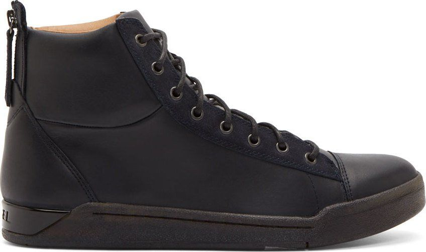 Black Leather Diamond High-Top Sneakers